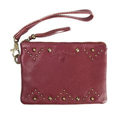 Lucky Brand Studded Leather Wristlet Rouge