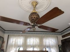 Tuerk Hunter 1898 four bladed ceiling fan rare! Antique Ceiling Fans, Old Fan, Electric Fan, Futuristic Technology, Lights, Antiques, Home Decor, Decoration, Inspiration
