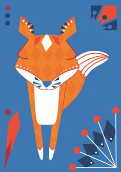 Folklore fox postcard illustration  #fox #postcard #folklore #teresebast