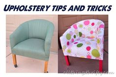 DIY Furniture : DIY Quick Upholstery Tips~~~ Ammmaaazzzing tutorial on DIY chair reupholstery! Furniture Projects, Furniture Makeover, Home Furniture, Bedroom Furniture, Coaster Furniture, Diy Bedroom, Reupholster Furniture, Furniture Upholstery, Upholstery Tacks
