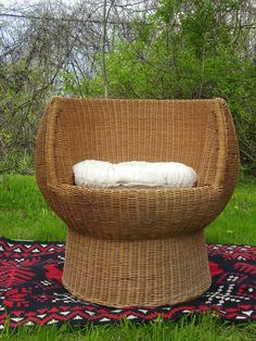 Vintage 1960s Wicker Pod Chair. Mid Century Modern Design. Similar To The  Designs
