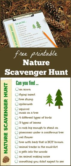 Nature Scavenger Hunt free printable list | outdoor activities for kids | hiking with kids