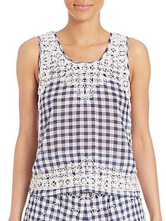 Calypso St Barth Yunes Embroidered Check Top In Blue Multicolor Calypso St Barth, Check Printing, Saks Fifth Avenue, Scoop Neck, Pullover, Navy, Tank Tops, How To Wear, Cotton