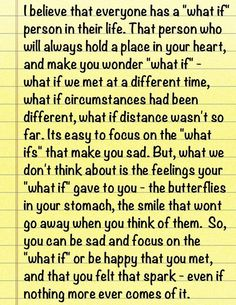 Yea...those 'what if' moments