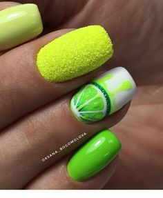 How to choose your fake nails? - My Nails Lime Nails, Lime Green Nails, Neon Nails, Fruit Nail Designs, Green Nail Designs, Nail Art Designs, Blog Designs, Fruit Nail Art, Gel Nagel Design