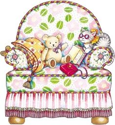 Mary Engelbreit chair with toys Mary Engelbreit, Paper Doll House, Paper Dolls, Decoupage, Images Gif, Bing Images, Clipart, Illustrations Posters, Illustrators