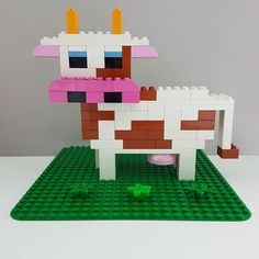 Here you can see a LEGO® Duplo cow that we at BRICKaddict. - Here you can see a LEGO® Duplo cow, which is from us BRICKaddict. Hama Beads Minecraft, Perler Beads, Lego Club, Building For Kids, Lego Building, Lego Technic Truck, Lego Duplo Animals, Modele Lego, Construction Lego
