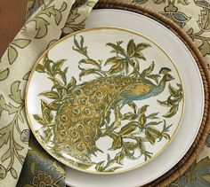 Peacock Salad Plate, Set of 4 - Pottery Barn // There are just certain things about childhood that don't go away....love of peacocks is one of them