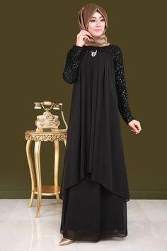 Broşlu Şifon Tesettür Abiye ALM3012 siyah