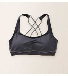 Stone Aerie Crisscross Sports Bra - The cute side of comfort! Flexible support for yoga, workouts & more! #Aerie