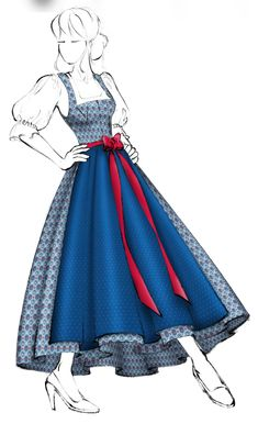 Dirndl im Miederschnitt (Modell 3) - Salzburger Heimatwerk Models, Vintage Crochet, Cinderella, Disney Princess, Disney Characters, Ballroom Dress, Drawing Drawing, Fabric Patterns, Bodice
