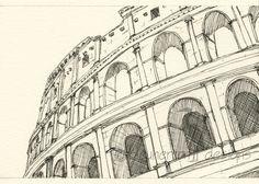 Rome Italy sketch - Coliseum, Rome - 5x7 drawing print. $16,00, via Etsy.