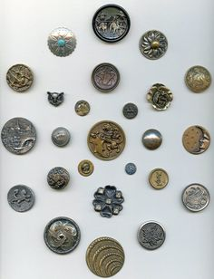 SOLD: Collectors card of 25 metal mostly pictorial buttons