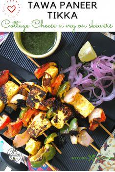 Tawa Paneer Tikka Vegetarian Appetizers, Finger Food Appetizers, Finger Foods, Appetizer Recipes, Vegetarian Recipes, Tandoori Masala, Chaat Masala, Paneer Tikka, Chicken Tikka Masala