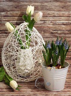 schnelles DIY für Osterdekoration/ Frühlingsdekoration aus Wolle und Tapeten-Kleister auf meinem Blog www.ge-sagt.de