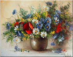 Malarstwo i Fotografia - Ewa Bartosik: Kwiaty Polne Flower Art, Poppies, Planter Pots, Wall Decorations, Plants, Paintings, Still Life, Vases, Angel Wings