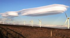 """Lenticular clouds were also seen over the moors at Oxenhope near Bradford. Mr Hudson said: """"The bigger the hill or mountain range the air travels across, the more spectacular the lenticular cloud""""."""