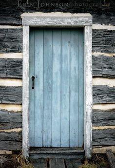 Simple blue wooden door