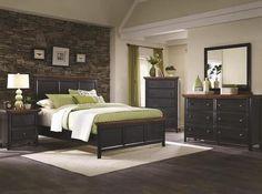 Bedroom = Black panel bed & Dresser
