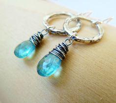 Apatite dangle circle earrings. Birthstone earrings. by TatianaG