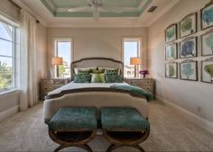 Coastal Bedroom Paint Color and decor. Coastal bedroom with coral art display and neutral wall paint colors. Ceiling is painted in Aloe by Sherwin Williams. #Coastal #Bedroom #Interiors