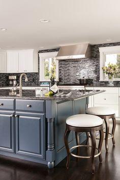 Home Remodeling Magazine- Blue Kitchen Island with Hendricks