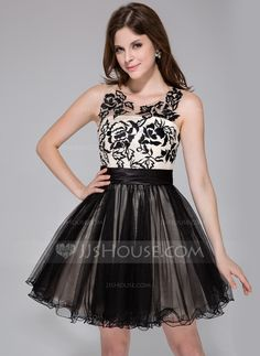 A-Line/Princess Scoop Neck Short/Mini Tulle Charmeuse Homecoming Dress With Ruffle Lace (022027070) - JJsHouse
