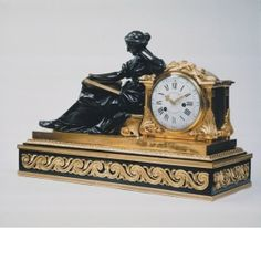 Mantel clock Ferdinand Berthoud (1727 - 1807)	, Movement Maker Joseph Baumhauer (died 1772), Plinth Maker Probably Edme Roy (active between: c. 1745), Bronze Founder Laurent Guiard (1723 - 1788), Case Designer, (probably made model of bronze figure and clock case) France c. 1768