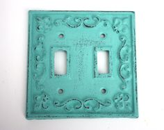 Shabby Cottage Chic Cast Iron Double Switch Plate Cover by SecondHandNews on Etsy https://www.etsy.com/listing/122987810/shabby-cottage-chic-cast-iron-double