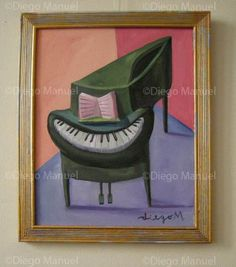 """""""piano sonrisa """", acrylic on canvas, painting: 24 x 19 cm., with frame: 28 x 23 cm, year2008. Painting by Diego Manuel"""