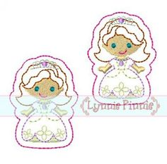 Embroidery Designs - Princess Sophie Felt Clippies 4x4 - Welcome to Lynnie Pinnie.com! Instant download and free applique machine embroidery designs in PES, HUS, JEF, DST, EXP, VIP, XXX AND ART formats.