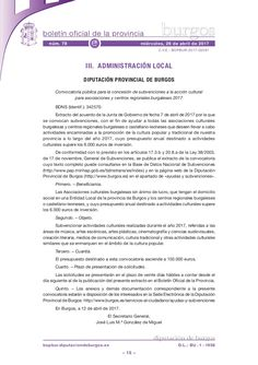 Convocatoria pública para la concesión de subvenciones a la acción cultural para asociaciones y centros regionales burgaleses 2017