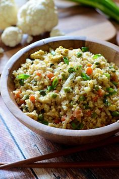 "Cauliflower Fried ""Rice"".  Healthy, low-carb, and seriously tasty!  Tastes so much like the Chinese takeout but without the guilt!  Easy to make, too! 