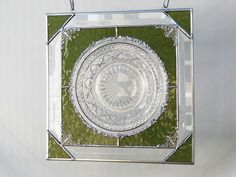 Vintage Imperial Glass Company Cape Cod Pattern Stained Glass Plate Panel Window Valance