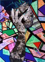 """ Kaleidoskop "" Acryl + Servietten 50 x 70 cm"