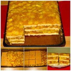 Ingrediente: – 1,8-2 kg mere – 350 g biscuiti populari (40 bucati) – 350 g zahar – 4 plicuri budinca de vanilie – 650 ml apa – 150 g stafide