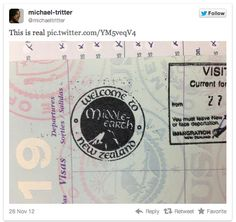 New Zealand's official passport stamps invite travelers to Middle Earth.