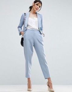 c0d0215eecf7 Women Pant Suits Light Sky Blue Work Wear for Ladies Pant Suits Women  Business Formal Office Uniform Trouser Suit