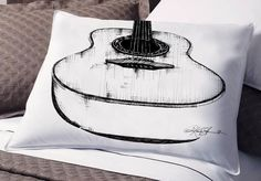 Digital Download Art .. Pen and Ink Guitar ..Original to transfer to Pillows, Burlap Bags, Tags or Print by Kathy Morton Stanion EBSQ