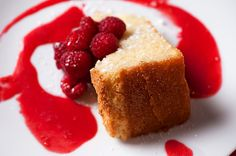 CanolaInfo | Recipes & Cooking | The Culinary Institute of America | Lemon-Vanilla Bean Canola Oil Pound Cake With Raspberry Sauce |