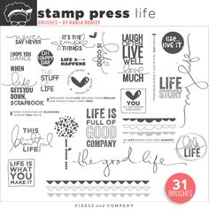 This is the 2nd Stamp Sheet in the Life 365 series | 2013. There's plenty of stamps about life in this set. Love brushes because they are universal and these%...