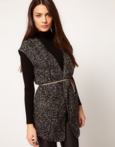 Selected Salt and Pepper Sleeveless Cardigan with Belt