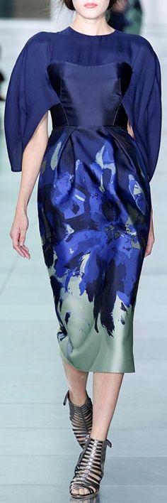 Antonio Berardi   Electric Blue Sheath Dress With Cape Sleeve