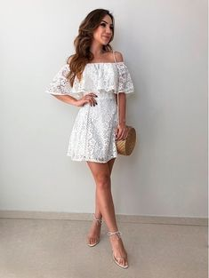 31 Summer Outfits To Copy Right Now - outfit. Dress Outfits, Casual Dresses, Short Dresses, Fashion Dresses, Cute Outfits, Romper Dress, Lace Dress, Havanna Party, White Dress Summer