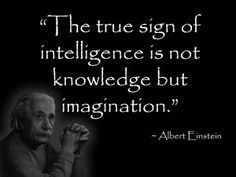 Geek bathroom quote by Albert Einstein.  The true sign of intelligence is not knowledge but imagination.