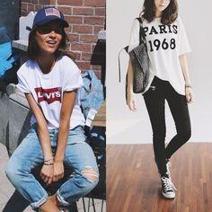 Looks femininos com peças masculinas: 1) T-shirt Levis branca + jeans claro + boné USA. 2) T-shirt larga branca Paris + all star preto + calça preta.