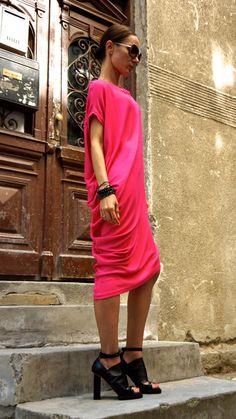 d488aeb63ca Sexy Summer Fuchsia Loose Kaftan / Maxi Dress / Asymmetric Sleeveless Tunic  Top / Maxi Blouse Ribbed Soft Cotton A02138