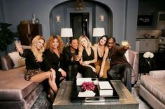 """From left to right: Brandi Glanville, Kym Whitley, Aisha Tyler, Khloe Kardashian, Kendall Jenner and Snoop Dogg appear on """"Kocktails with Khloe""""."""