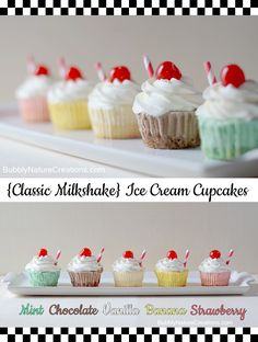 {Classic Milkshake} Ice Cream Cupcakes   A great variety of flavors to please everyone!  Use only 1 box of cake mix and vanilla ice cream.  Add flavors and colors.  Super cute for a summer day!
