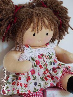 Lilou, poupée de chiffon de 40 cm, inspiration poupée Waldorf : Jeux, jouets par lovely-poupette